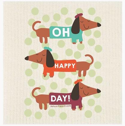 Oh Happy Day Swedish Dishcloth
