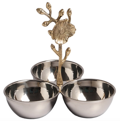 Stainless Steel Bowls with Floral Handle