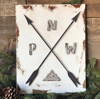 PNW Metal Wall Sign with Mountain Magnet