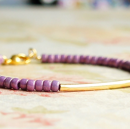 """7"""" Lilac Purple Beads And Gold Filled Bar Bracelet"""