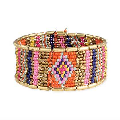 Gold & Bead Boho Cuff Bracelet
