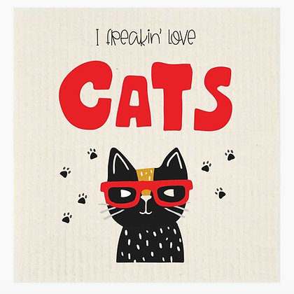 I Freakin' Love Cats Swedish Dishcloth