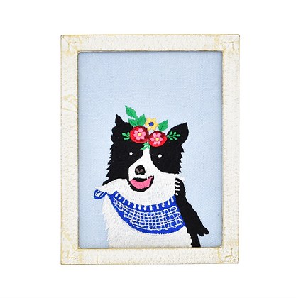 Attentive Border Collie Embroidered Wall Art 6x8