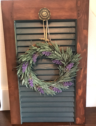 Vintage Shutter With Antique Knob & Faux Lavender Wreath