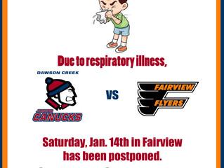 Jan. 14th Game vs Fairview postponed