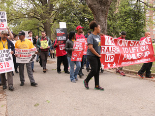 Students march for the Fight for $15 minimum wage
