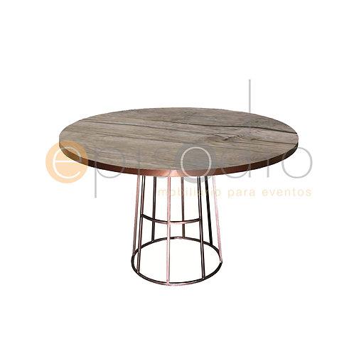 Mesa de 1.20 de Diámetro de Demin Oak Con Cono Color Cobre
