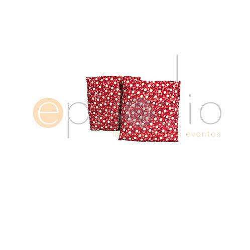 Cojín Rojo Con Estampado Floreado