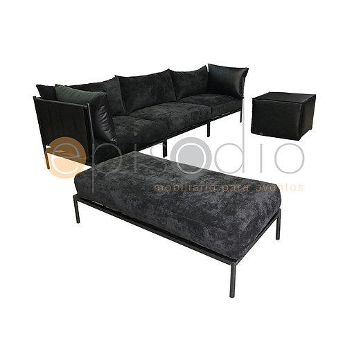 Sala Amelia Color Hudson Negro Con Piel Napa Sevilla