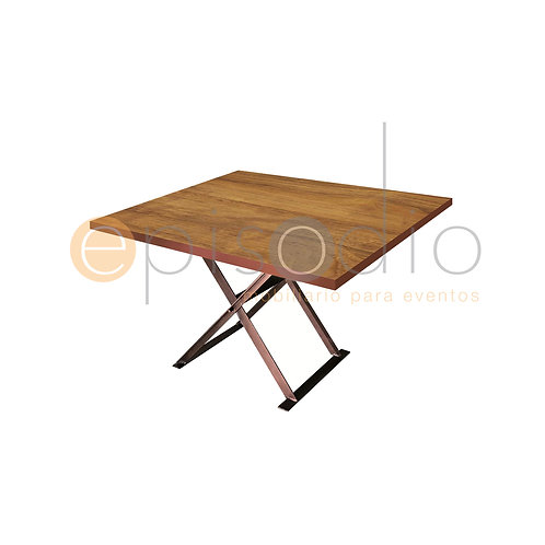 Mesa de 1.22 x 1.22 de Wild Walnut Con Tijera Color Cobre