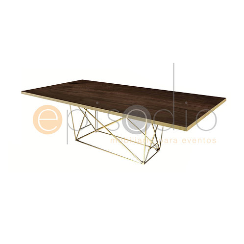 Mesa AD 2.44 x 1.22 de Walnut Color Dorado