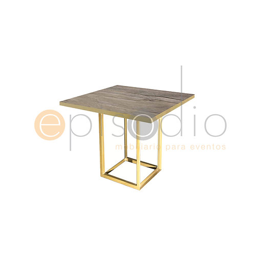 Mesa de 0.90 x 0.90 de Demin Oak Color Dorado