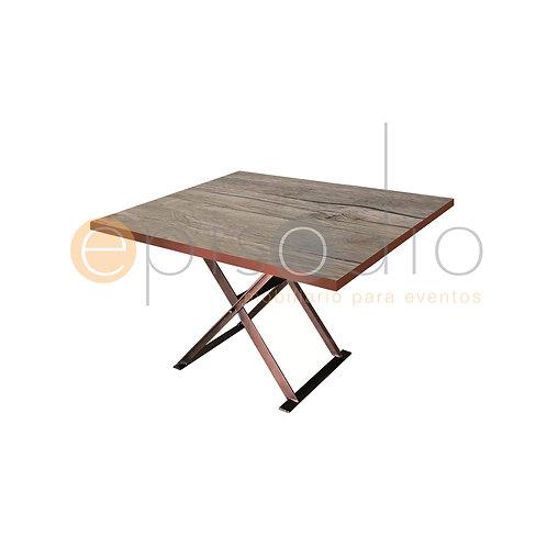 Mesa de 1.22 x 1.22 de Demin Oak Con Tijera Color Cobre