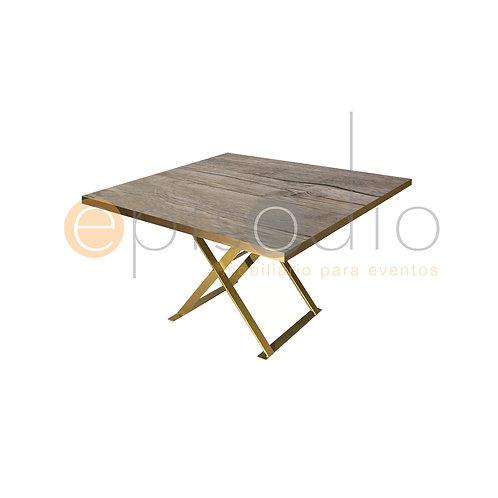 Mesa de 1.22 x 1.22 de Demin Oak Con Tijera Color Dorado