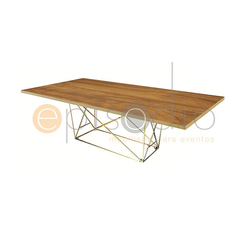 Mesa AD 2.44 x 1.22 de Wild Walnut Color Dorado