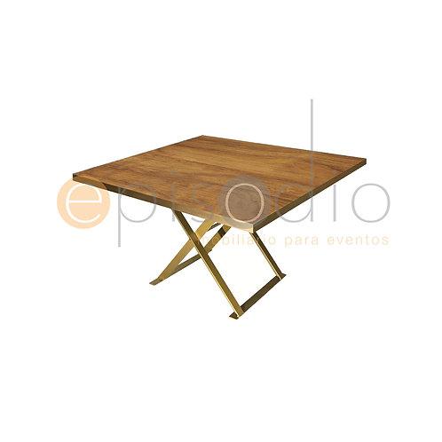 Mesa de 1.22 x 1.22 de Wild Walnut Con Tijera Color Dorado