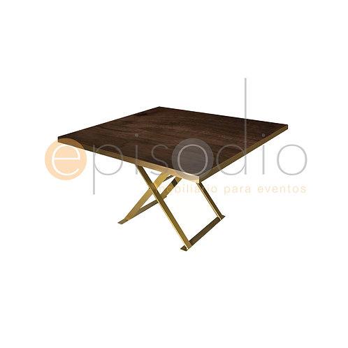 Mesa de 1.22 x 1.22 de Walnut Con Tijera Color Dorado