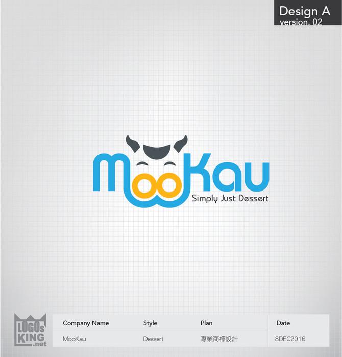 MooKau一個可愛奶油甜品的標誌設計