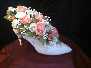 white high heel shoe floral arrangement