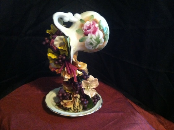 Ivory Tea Cup with Painted Roses