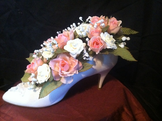 White High Heel Shoe with Pink Flowers