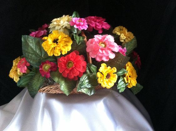 Basket of Zinnias