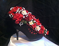 Sexy Black High Heel with Red Flowers