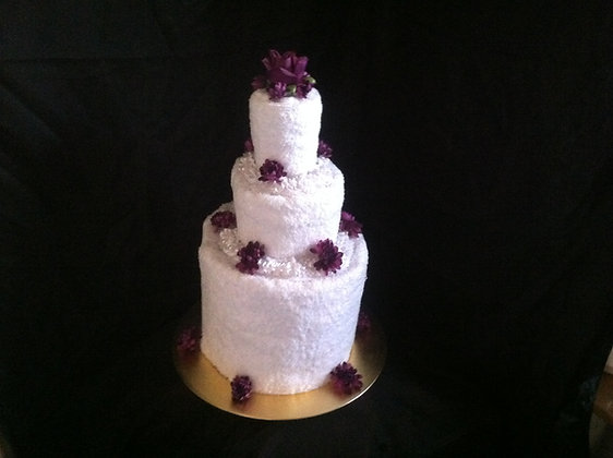 Towel Cake with Purple Flowers