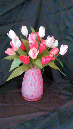 Pink and White Glass Vase