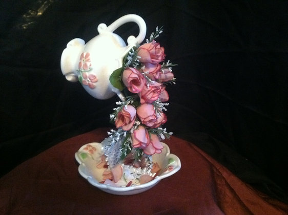 Pink and White Rose Tea Cup