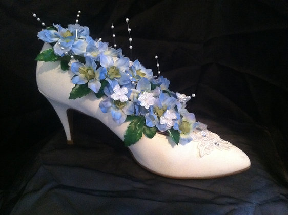 White High Heel Shoe with Blue Flowers