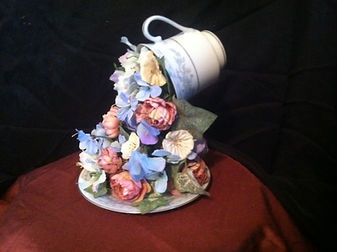 Classic Tea Cup Blue Flowers and Silerver Trim