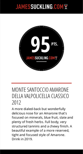 Monte Santoccio Amarone della Valpolicella Classico 2012 – James Suckling 95 pts.