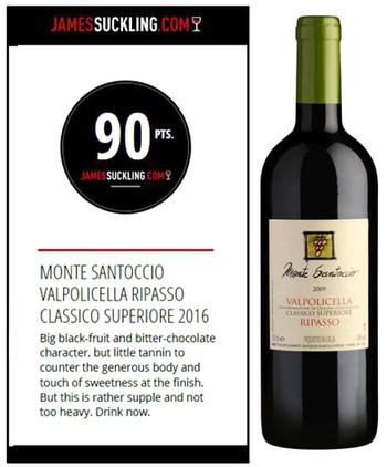 Monte Santoccio Valpolicella Classico Superiore Ripasso 2016 – James Suckling 90 pts.