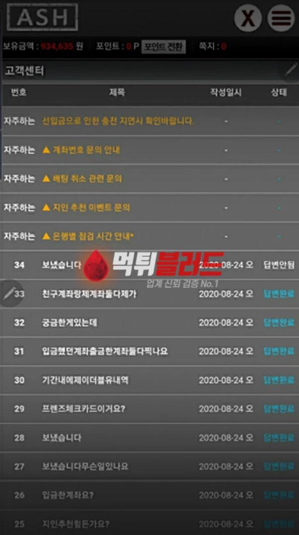 먹튀사이트 애쉬 먹튀검증 완료