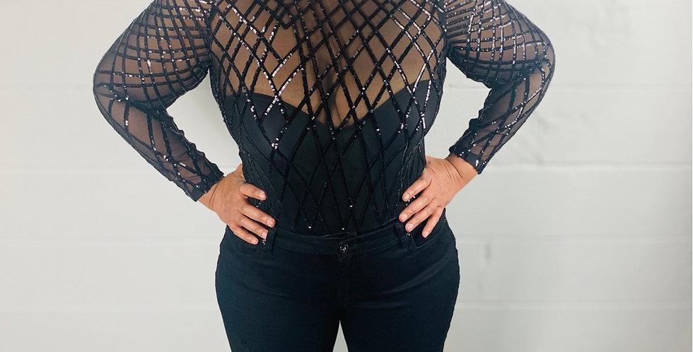 Criss cross sequin bodysuit