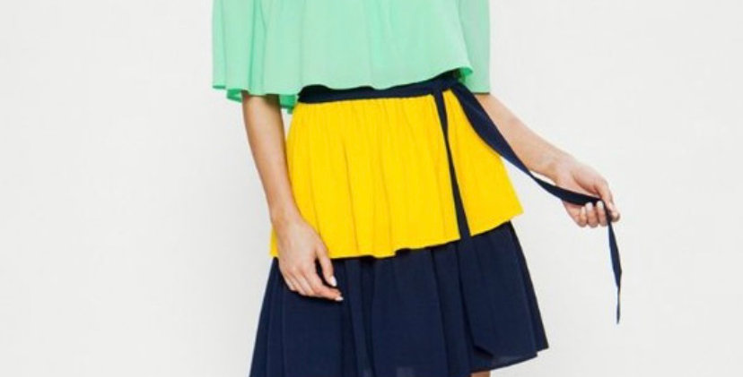 Color Blocked Tiered Dress