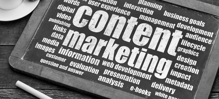 Black and white picture of small chalkboard with content marketing in the centre of a word cloud on it