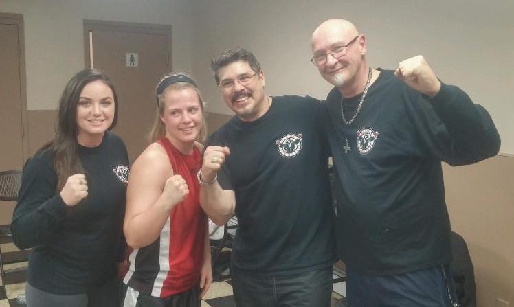 Erin MacGregor (Asst. Coach), Norma, Al Archibald (Head Coach), Jim Worthen (President Albion Boxing Club)