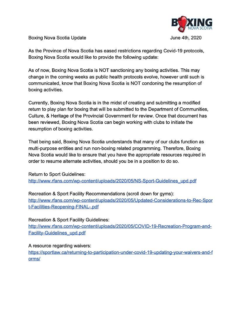 Boxing Nova Scotia Update June 4th, 2020