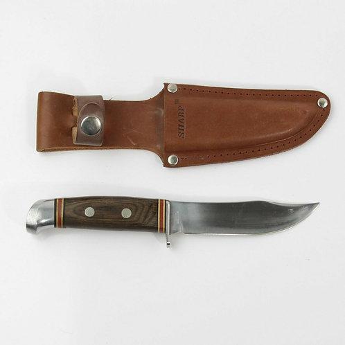 1980's Vintage SHARP Brand HUNTING SKINNING KNIFE ROSEWOOD HANDLE