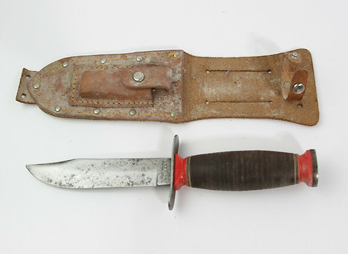 VINTAGE SCHRADE WALDEN NY HUNTING KNIFE WITH LEATHER SHEATH