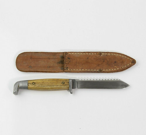 VINTAGE QUEEN CUTLERY BONE HANDLE KNIFE WITH SHEATH