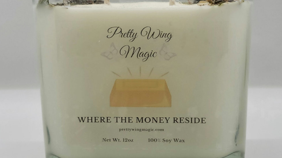 """""""Where The Money Reside"""" Herbal Infused Reiki Intention Candle"""