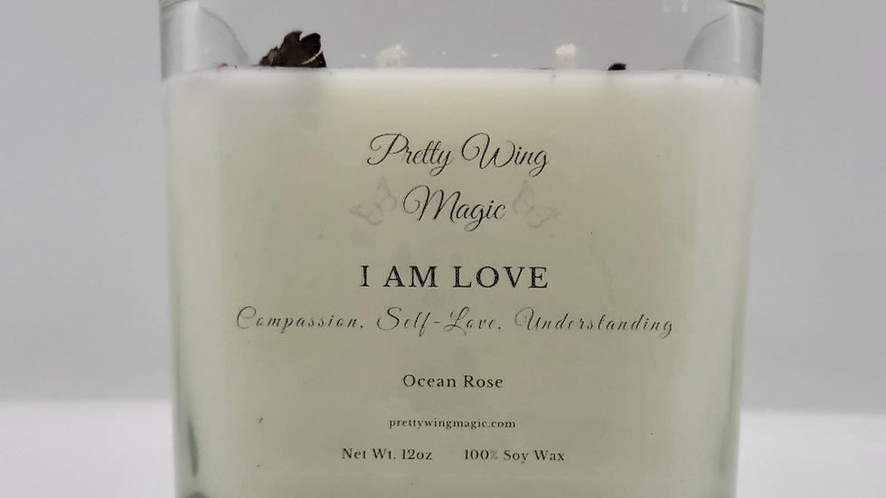 """""""I Am Love"""" Herbal Infused Reiki Intention Candle"""