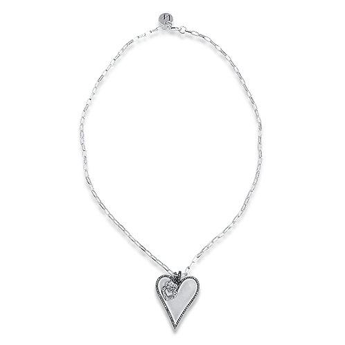Pave diamond heart necklace