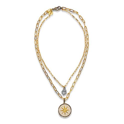 Pave diamond double strand necklace