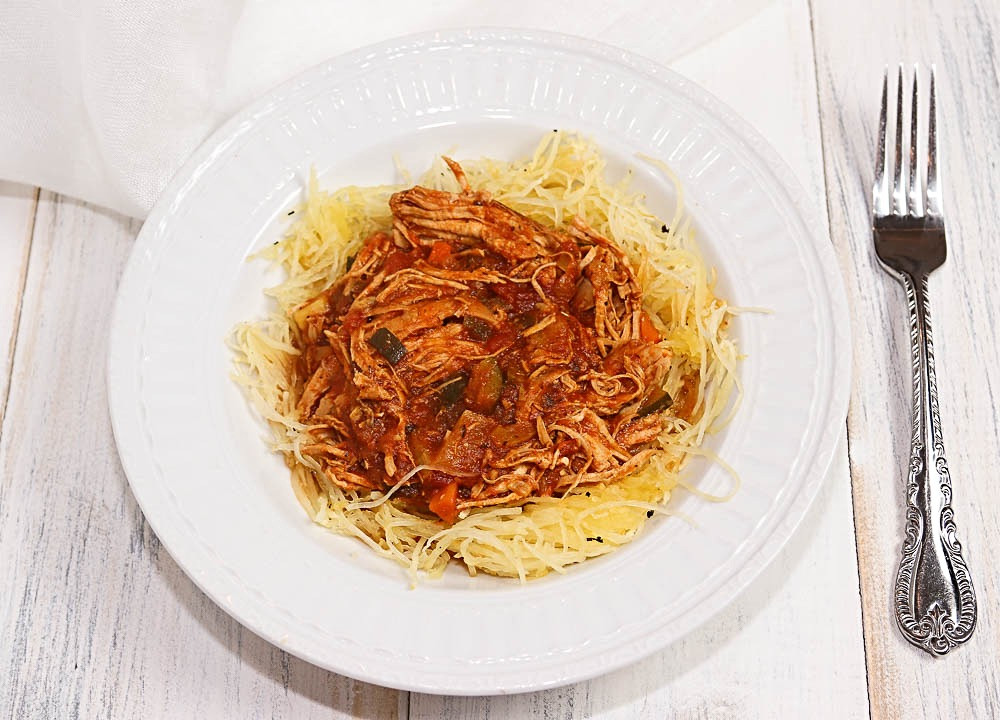 Vegetable & Chicken Spaghetti over Roasted Spaghetti Squash