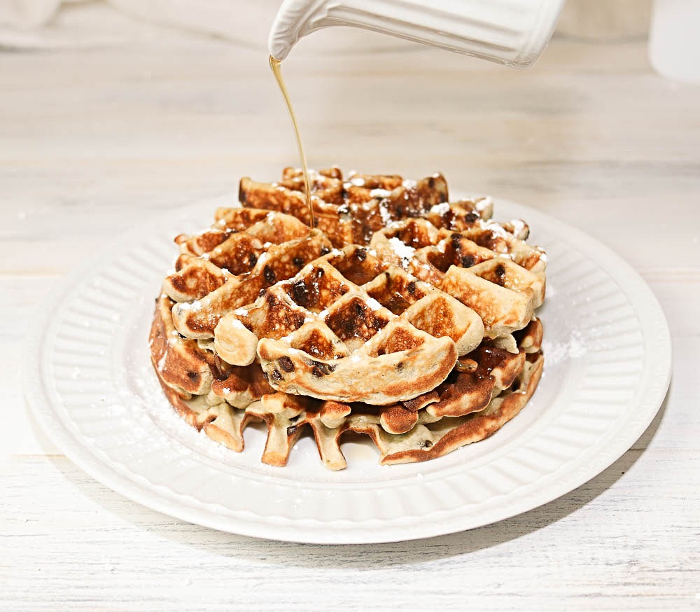Chocolate Chip Waffles with Maple Syrup