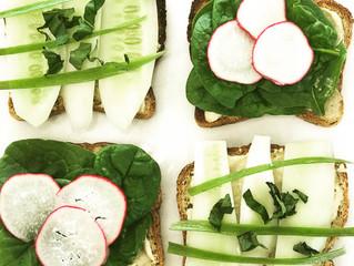 Cucumber, Hummus and Radish Sandwiches